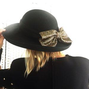 Vintage Fedora Wool Felt Black Wide Brim Gold Bow